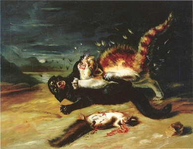 Animal-Cat-Painting-Cat-fight-780x604
